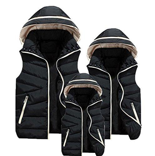 Canyon Ärmellos (Minetom Herbst Winter Vater Mutter und Kinder Familie Matching Outfit Waistcoat Solid Weste Daunenjacke Ärmellos mit Kapuze Schwarz DE 50(Mutter und Vater))