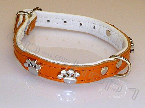 """HALSBAND """"Tatze"""" - Hundehalsband - 30 cm (XS) - Orange - Echt Leder"""