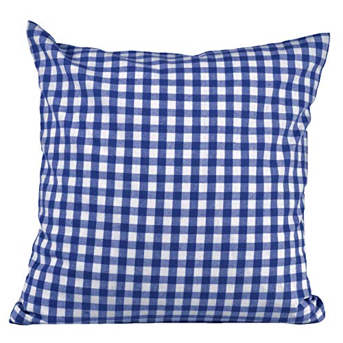 Hans-Textil-Shop Kissenbezug 40x40 cm Karo 1x1 cm Blau -