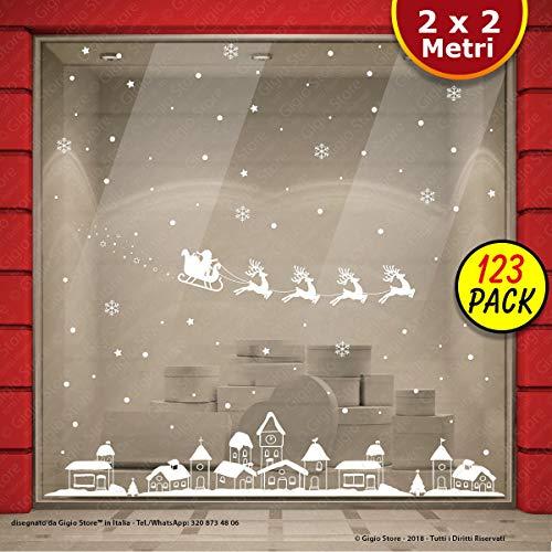 Vetrofania Natale 200x200 CM Vetrofanie Natalizie Vetrine Negozi Natale Sticker Decorativi Finestre Adesivi Natalizi Murali Vetri Adesivo Babbo