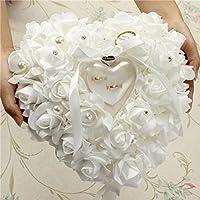 Bureze Wedding Favors Romantic Pearl Rose Heart Shaped Ring Handmade Gift Ring Box Pillow Cushion