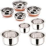 "[Sponsored]Sonigram Serving & Cookware Set -- Induction Tope 4 Pcs. Set 1000ml, 1500ml, 2000ml, 2500ml. Flat Bottom - With - Serving HANDI Set 4 Pcs. - Copper Bottom - 550ml, 750ml, 1250ml, 1900ml. ""Stainless Steel - Multipurpose"""