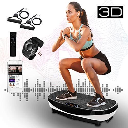 XPLON Vibrationsplatte 3D VPM030 Vibration Platte Vibrationstrainer Vibrationsgerät Leistungsstark 2 Motoren Trainingsbänder Curved Design Riesige Fläche 99 Stuffen Bluetooth Musik Touch schwarz/weiss