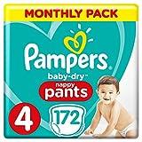 Couches Pampers Baby-Dry Pantalon taille 4, 172Couche Culotte d'apprentissage, 9-15kg, mensuel d'économie d'Lot, Easy-On avec canaux d'air pour jusqu'à 12heures d'respirant Sécheresse