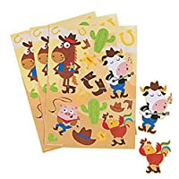 Pack of 12 - Western Animals Cowboy Sticker Sheets - Wild West Party Bag Fillers