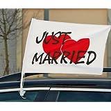 050–0040–300–décorations de mariage en forme de cœur-lot de 2 drapeaux