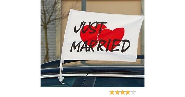 Auto Flagge Just Married con cuore 2/pezzi