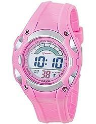 Montre digital Femme / Enfant - bracelet Plastique Rose - Cadran Rond Fond Rose - Marque Mingrui - MR8529
