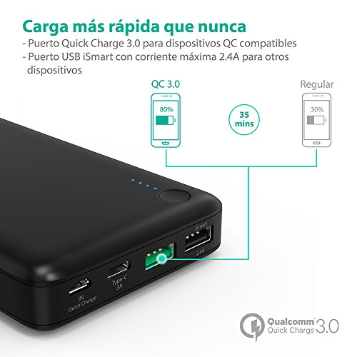 Quick-Charge-30-Power-Bank-20100mAh-Qualcomm-RAVPower-QC-30-Carga-Rpida-Bateria-Externa-para-Mvil-iPhone-7-iPhone-7-Plus-Samsung-Tablet-Type-C-de-Entrada-y-Salida