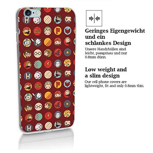 finoo | iPhone 8 Handy-Tasche Schutzhülle | ultra leichte transparente Handyhülle in harter Ausführung | kratzfeste stylische Hard Schale mit Motiv Cover Case |Harry Potter Muster Freunde Harry Potter Muster rot