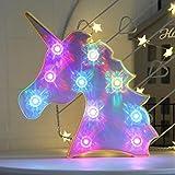 AIZESI Einhorn Lampe LED Unicorn Deko Neon Einhorn Licht Bunt Dekoration Einhorn Licht Lampe Zimmer Mädchen mit Diamant-Glühbirne,Ambient Tischbeleuchtung,Kind Einhorn Party(Bunt)