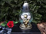 ♥ 2 STÜCK LED GRABLAMPE GRABLATERNE Bronze MIT LED GRABKERZE 20,0cm GRABSCHMUCK Grablicht GRABLAMPE GRABLEUCHTE GRABKERZE Laterne GRABDEKORATION