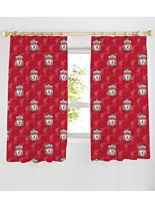 """Liverpool FC Crest 66"""" x 54"""" Curtains + Blackout Lining Curtains. 100% Official Merchandise"""