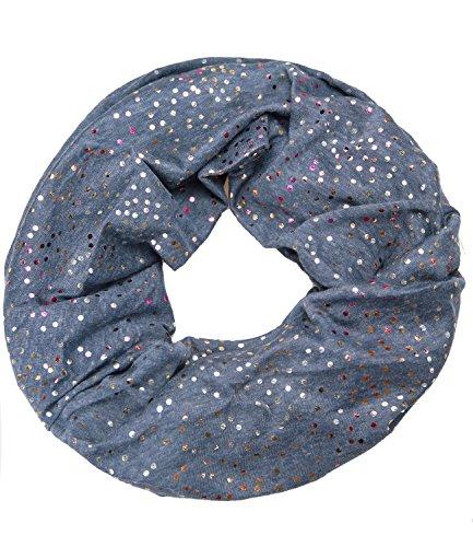 caripe leichter Damen Loop Schal Schlauchschal Halstuch glänzend metallic dots Punkte Print - met-2 (taubenblau) (Dot Print Jersey)