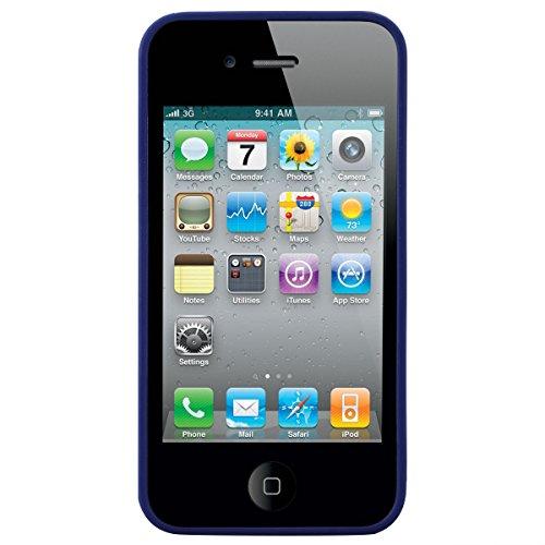 Dexnor Cover per iPhone 4 Custodia Caso iPhone 4S Candy Case, Durevole Silicone Soft TPU Gel Morbido Sottile Protettiva Flessibile Bumper Back Cover Gomma Slim Protezione Posteriore Protector per Appl Blu-Scuro