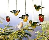 Baumbehang Vogel hängend Grünfink, einzeln 5cm NEU Strauchbehang Osterschmuck Ostern