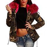 Young-Fashion Damen Camouflage Winter Parka Kapuzen Jacke Parka Military Army-Look Teddyfutter, Farbe:Khaki/Pink Fell;Größe:40/L