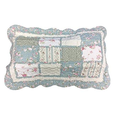 Luxe matelassé Patchwork et motif floral Taie d'oreiller Oreiller–100% coton, 100 % coton, Vert/bleu, 50x75cm
