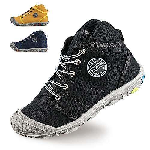 XIANV Sneaker Kinder Jungen Mädchen Schuhe Cowboy Sportschuhe Outdoor Schuhe Laufschuhe High-top Schnürer Schmutzige Schuhe (34 EU, Schwarz)