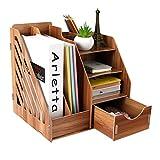 SxX-Desktop-Bücherregal Holz Desktop Organizer Multifunktionale DIY Schreibtisch Ordentlich Stationäre Schrank mit Schubladen für Zuhause, Büro und Schule (29 * 25,5 * 29 cm) (Farbe : #1)