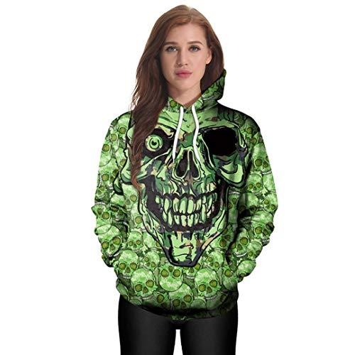 die Frauen beiläufige Hoodies Print Pullover Hoodie Sweatshirt Pullover Tops(Grün,M) ()