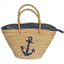 Bolso capazo de mimbre con ancla bordada en color azul y cierre con cremallera. Bolso de playa de mimbre con ancla bordada.Bolso de verano. Regalo de mujer.