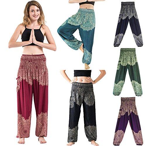 Yoga Pantalones Mujer Deportivas Trousers Boho Festival Hippy Leggins Polainas para Mujer EláSticos Pilates Fitness Estilo Estampado Pantalones (Vino)