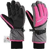 Andake 3M Thinsulate | Touchscreen wählbar | warm wasserdicht Winddicht Rutschfest atmungsaktiv | Handschuhe Skihandschuhe Winterhandschuhe Thermohandschuhe Damen Frauen, Pink+Touchscreen, S