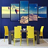 gwgdjk Stampe su Tela Dipinti Living Room Wall Art 5 Pezzi Fire Balloon Sea Landscape Poster Montagne Immagini Home Decor-40X60/80/100Cm,Without Frame