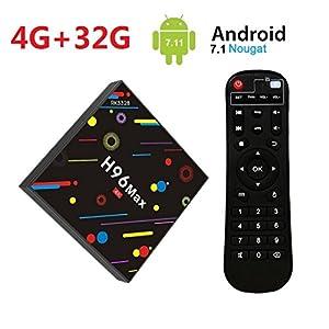 [2018 TV BOX 4GB + 32GB] SINUK H96 MAX H2 Android 7.1 Smart TV Box 4G + 32G RK3328 Quad-Core 64bit Cortex-A53 décodeur, ultra HD Support 2.4G / 5G double Wifi 1000M / Bluetooth 4.0 / USB 3.0 / 3D / 4k par SINUK H96 MAX