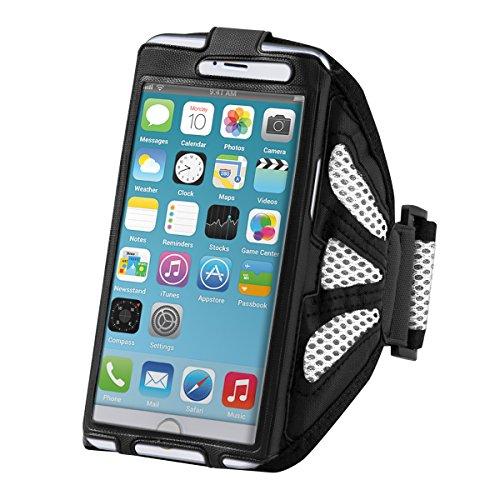 Galleria fotografica kwmobile fascia da braccio sportiva per Smartphones - jogging corsa borsa da sport fascia per fitness in bianco - compatibile ad es. con Samsung, Apple