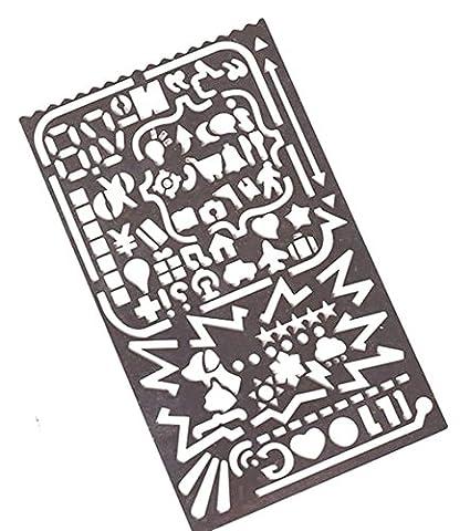 Itemer Creative Modèle de dessin Dessin Règle Portable en acier inoxydable DIY Peinture Règle pour DIY Photo Album/journal/lettre/carte