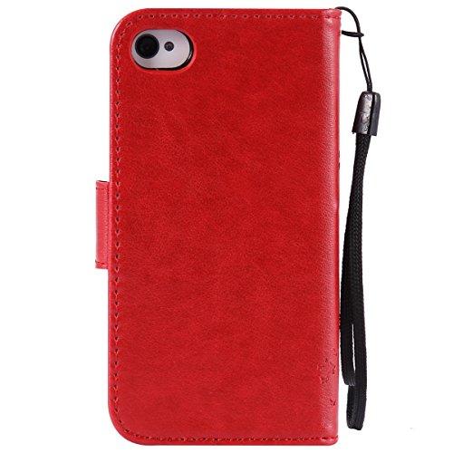 iPhone 4S Hülle,Leder Flip Case für Apple iPhone 4S,Ekakashop iPhone 4 PU Leder Tasche Flip Wallet Case Cover Stand Lederhülle Brieftasche mit Kartensteckplätze,Bookstyle Katzen und Baum Muster Magnet Rot