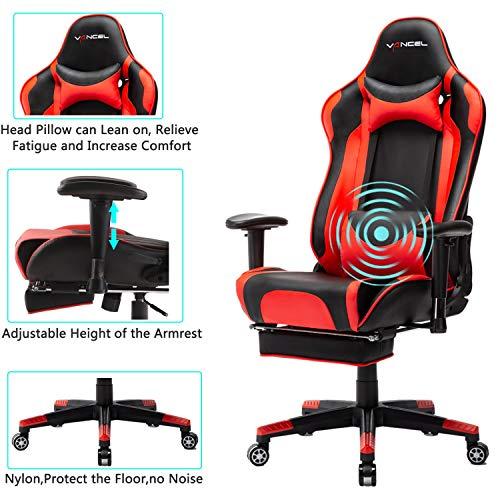 EVANCEL Gaming Stuhl in E-Sports Racing Style Massage Teillenkissen Computerstuhl Ergonomisches Design schwenkbarer mit Verstellbaren Armlehnen und Fußstütze, Wippfunktion mit PU Leder (Rot)