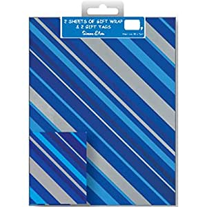 2 Double Packs Gift Wrap Designer Male 2 Pattern & Tags - Total of 4 sheets of quality wrapping paper and 4 tags