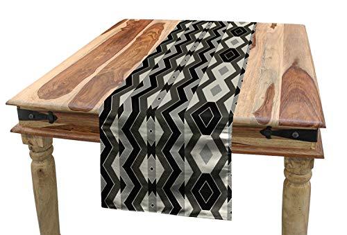 ABAKUHAUS Geometrisch Tischläufer, Chevron Zickzack Boho, Esszimmer Küche Rechteckiger Dekorativer Tischläufer, 40 x 300 cm, Anthrazit grau Schwarz Creme