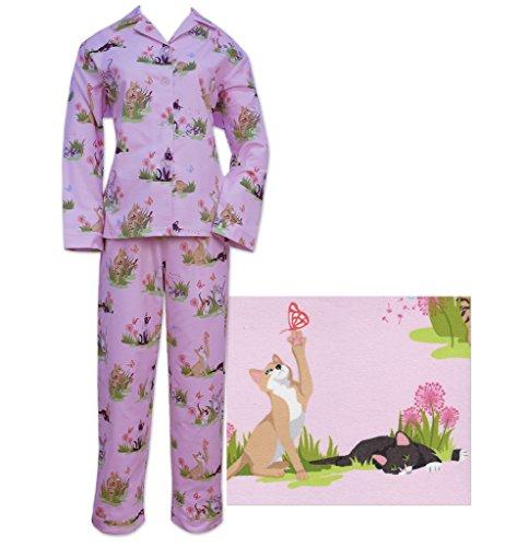 Der Katze Schlafanzüge Pink frolicsome Katzen Damen Flanell Pyjama Gr. Large, rose (Lg Flanell)