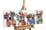 KunstLoft® cuadro acrílico 'Fashionistas' 120x40cm | Original pintura XXL pintado a mano en lienzo | Perros Colorido Animales Divertido | Mural acrílico de arte moderno en una pieza con marco