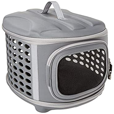 Hard Cover Pet Carrier – Collapsible Cat Travel Kennel with Top-Load and Superior Ventilation, Grey