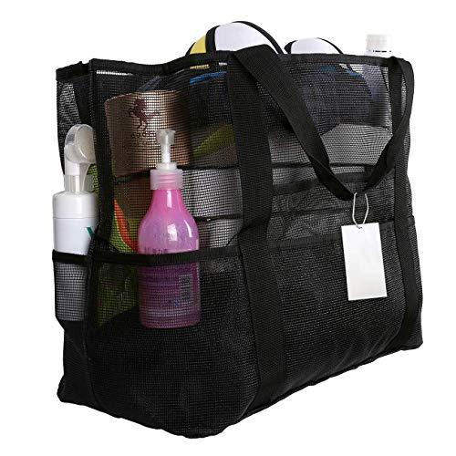 EXTSUD Extra Große Reisetasche Strandtasche Sand Spielzeug Aufbewahrungstasche Faltbare Handtaschen Netztasche Picknicktaschen für den Sommer Strand Shopping für Familie Urlaub 70x45x18cm (Schwarz)