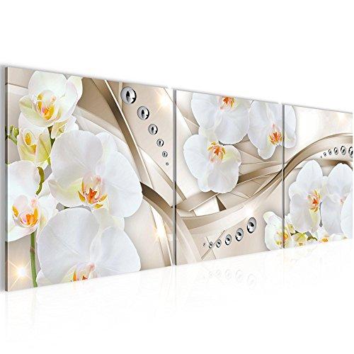 Runa Art Wandbild Blumen Orchidee Bilder 120 x 40 cm Vlies - Leinwand Bild XXL Format Wandbilder Wohnzimmer Wohnung Deko Kunstdrucke Beige 3 Teile - Made IN Germany - Fertig zum Aufhängen 205333b