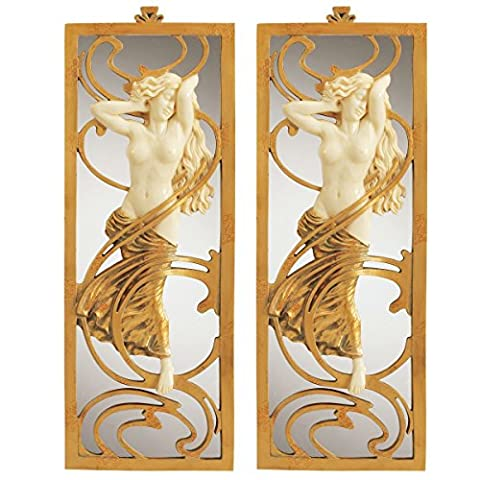 Design Toscano Parisian Art Nouveau Wall Mirror - Set of 2