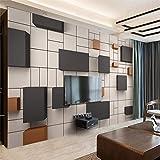 HONGYAUNZHANG Schwarz-Weiß-Polygon-Geometrie Benutzerdefinierte Fototapete 3D Stereoskopische Wandbild Wohnzimmer Schlafzimmer Sofa Hintergrund Wandbilder,200Cm (H) X 280Cm (W)