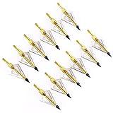 INIBUD 12 x Pfeilspitzen Jagdspitzen Armbrust für Bogen Alu mit 3 Klingen aus 430 Edelstahl
