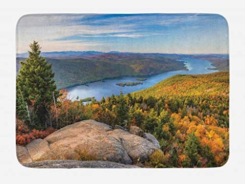 BUZRL Adirondack Bath Mat, Tranquil Landscape of Lake George and Tongue Mountain Over The Mountain Top, Plush Bathroom Decor Mat with Non Slip Backing, 23.6 W X 15.7 W Inches, Multicolor