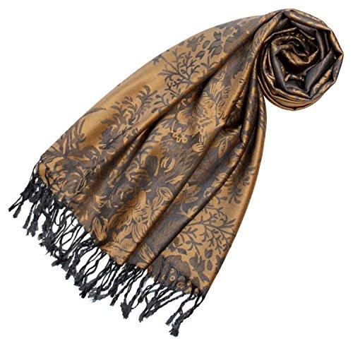 LORENZO CANA Designer Pashmina hochwertiger Marken-Schal floral gewebtes Blumen Muster Damast - Webart 70 x 180 cm Modal Schaltuch Schal Tuch Jacquard (Schal Seide Damen Italienischer)