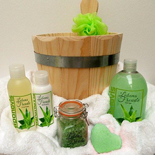 Großes Saunaeimer Pflegeset Lebensfreude 8 tlg. Aloe Vera mit Duschgel, Badeszusatz, Badepraline, Badesalz, Peeling - als Geschenkset direkt vom Hersteller!
