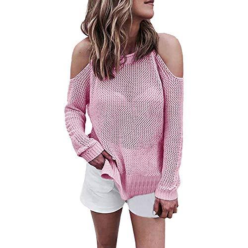 Pullover Sweatshirt SUNNSEAN Damen Bluse Frauen Mode Tops Lose Rundhals Off Schulter Casual Langarmshirts Beiläufige Jumper Strickwaren Oberteile Tuniken