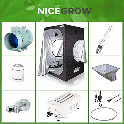 Nice Grow Growset Dark Box 100 Osram 400W Blüte 4-Seitenreflektor Turbo E Aktivkohlefilter