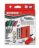Kores Whiteboard Set, 4 Marker mit Keilspitze, 1 mm, schwarz/blau/rot/grün